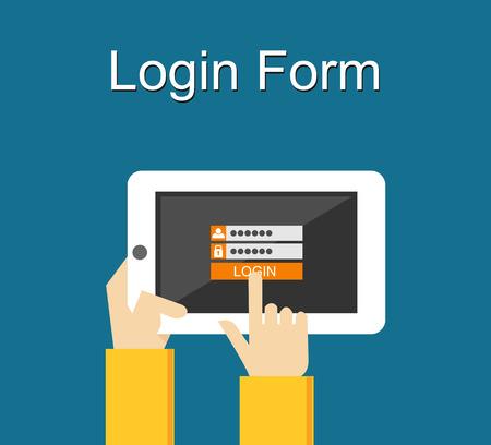 Illustration pour Login form illustration. Flat design. Login form on gadget screen illustration concept. - image libre de droit
