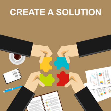 Illustration pour Create a solution illustration.  Making a solution concept. Business people with puzzle pieces. Flat design illustration concepts for teamwork discussion business career strategy decision making. - image libre de droit