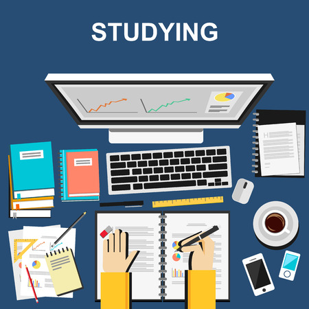 Photo pour Studying illustration. Studying concept.  Flat design illustration concepts for studying working business analysis planning writing development brainstorming. - image libre de droit