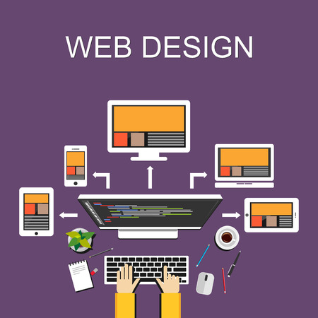 Illustration pour Web design illustration. Flat design. Banner illustration. Flat design illustration concepts for web designer web development web developer responsive web design programming  programmer. - image libre de droit