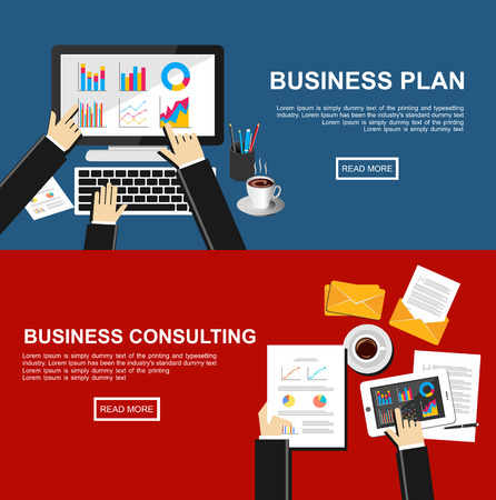 Ilustración de Banner for business plan and business consulting.  - Imagen libre de derechos