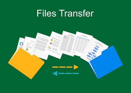 Illustration for Files transfer illustration. Documents management illustration. - Royalty Free Image