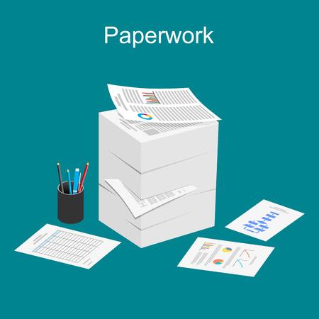 Illustration pour Paperwork illustration. Stack of paper illustration. - image libre de droit