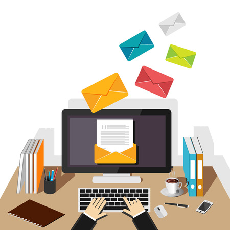 Ilustración de Email illustration. Sending or receiving email concept illustration. flat design. Email marketing. Broadcast email. - Imagen libre de derechos