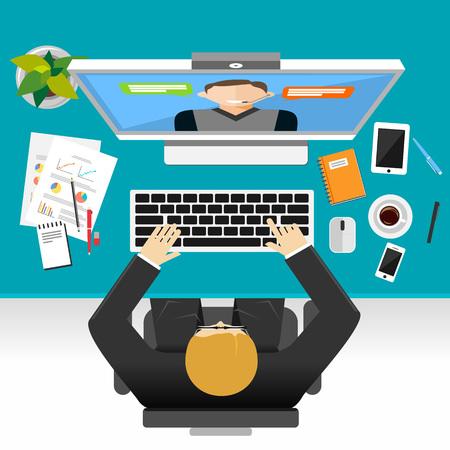 Illustration pour Video conference or video call concept illustration. - image libre de droit