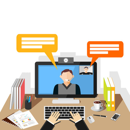 Ilustración de Video conference illustration. flat design. Video call. - Imagen libre de derechos