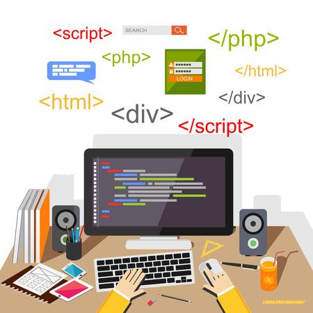 Ilustración de Web developer or programmer concept illustration. - Imagen libre de derechos