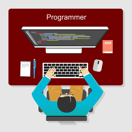 Programmer working concept illustration. Flat design. Flat design illustration concepts for analysis, working, brainstorming, coding, programming, and teamwork.