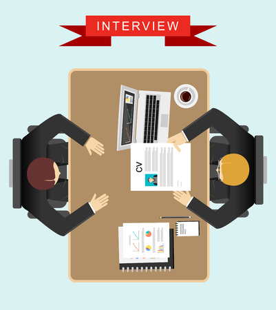 Illustration pour Job interview concept illustration. Flat design. - image libre de droit