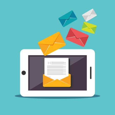 Illustration pour Email illustration. Digital Marketing. Sending or receiving email concept illustration. flat design. Email marketing. Broadcast email. - image libre de droit