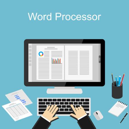 Illustration pour Working with word processor illustration. - image libre de droit