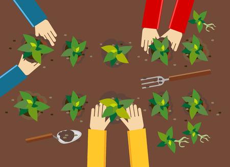 Illustration pour Planting illustration. Planting concept. Flat design illustration concepts for working, farming, harvesting, gardening, architectural, seeding, cultivate, go green. - image libre de droit