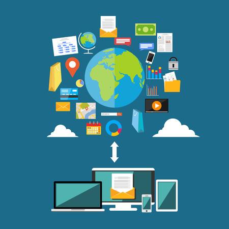 Ilustración de Download or upload internet contents. Surfing on internet. Multimedia contents. Internet Access - Imagen libre de derechos