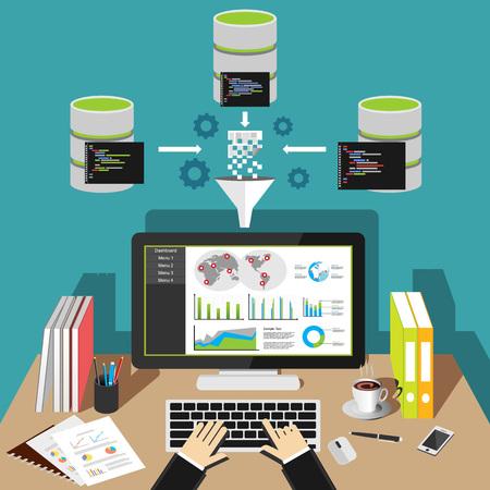 Illustration pour Business intelligence analytics dashboard. Data mining. - image libre de droit