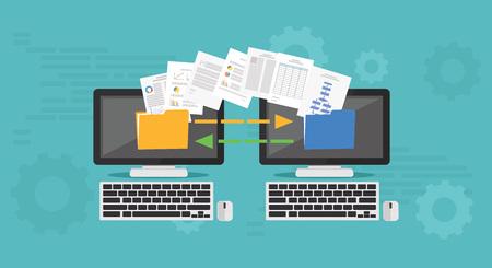 Illustration pour Copy File, Data Exchange. Transfer file concept - image libre de droit