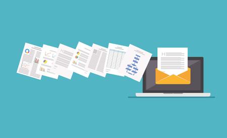 Illustration pour Files Attachment Email. Online communication. Email. - image libre de droit