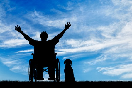 Foto de Concept of disability and disease. Silhouette happy disabled person in a wheelchair beside the dog on the background of the sky - Imagen libre de derechos