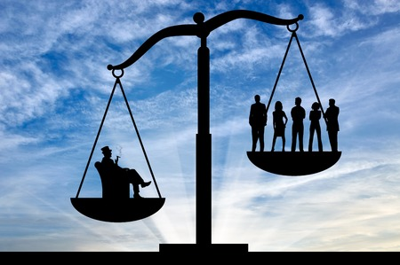 Photo for Social inequality . Social inequality on the scales of justice between the rich and ordinary people - Royalty Free Image