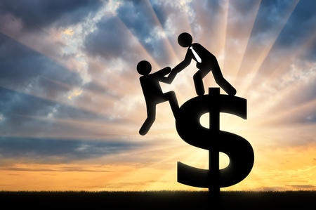 Photo for Concept of business team. Man standing on sign of dollar helps other person to get to it - Royalty Free Image