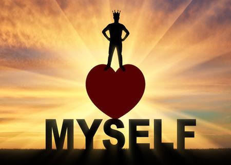 Photo for Concept of narcissism and selfishness. Silhouette of a narcissist with a crown on his head against a sunset background - Royalty Free Image