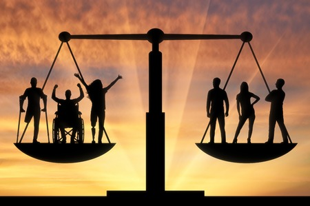 Photo pour Invalids equal in rights in the balance with healthy people. The concept of social b legal equality of persons with disabilities in society - image libre de droit