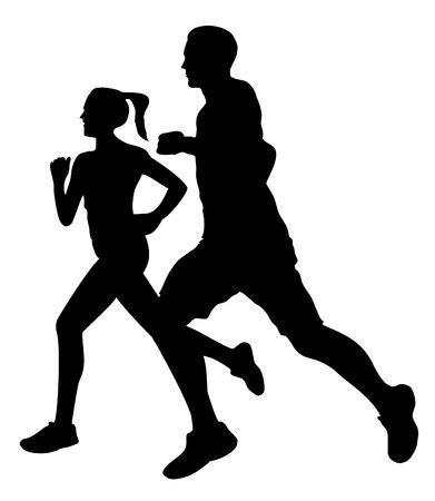 Illustration pour Couple jogging running exercising silhouette - image libre de droit