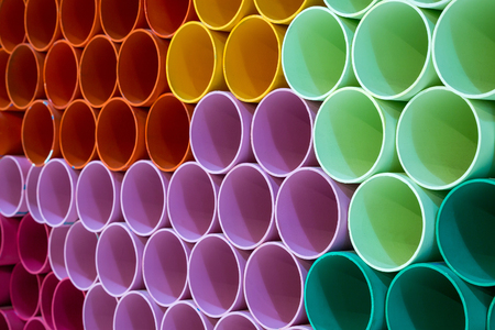 Photo pour The colors and patterns of PVC pipes for the background. - image libre de droit