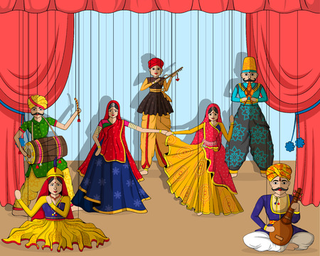 Illustration pour Vector design of colorful Rajasthani Puppet in Indian art style - image libre de droit