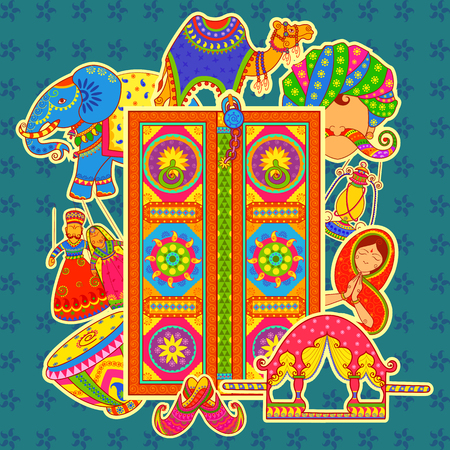 Illustration pour Vector design of culture of Rajasthan in Indian art style - image libre de droit