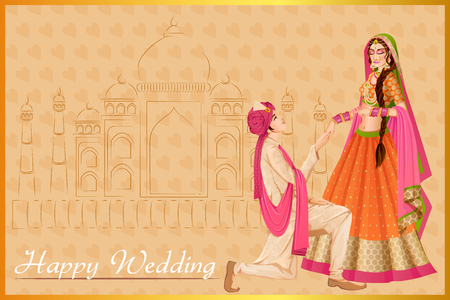Illustration for Indian man proposing woman in wedding ceremony of India - Royalty Free Image
