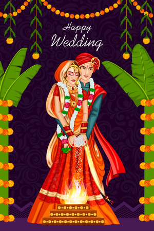 Illustration for Indian couple in wedding ceremony of India - Royalty Free Image