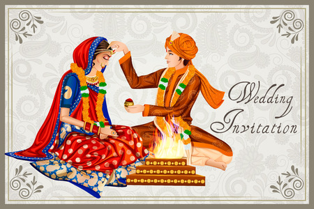 Illustration for Indian couple in wedding Maang Bharai ceremony of India - Royalty Free Image