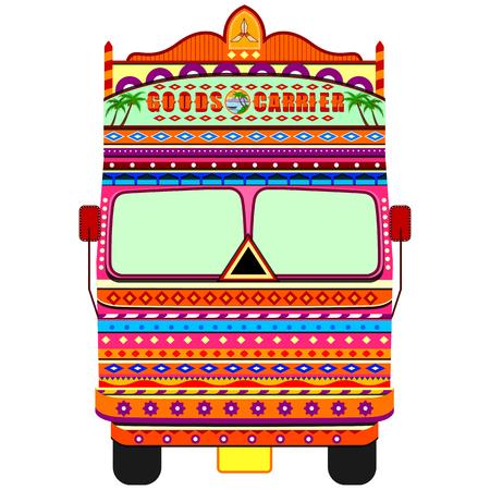 Illustration pour Truck of India in Indian art style - image libre de droit