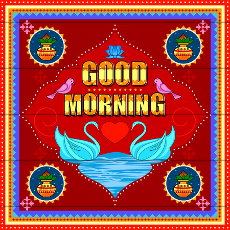 Illustrazione per Good Morning background in Indian Truck Art style - Immagini Royalty Free