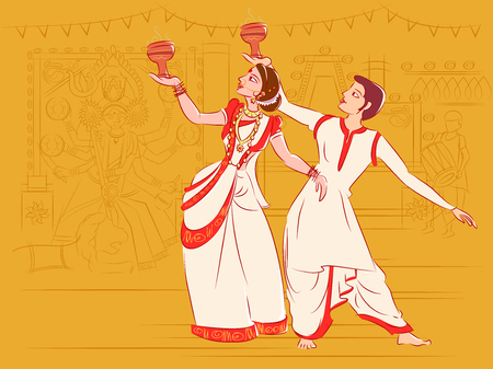 Illustration for Couple performing Dhunuchi dance of Bengal, India - Royalty Free Image