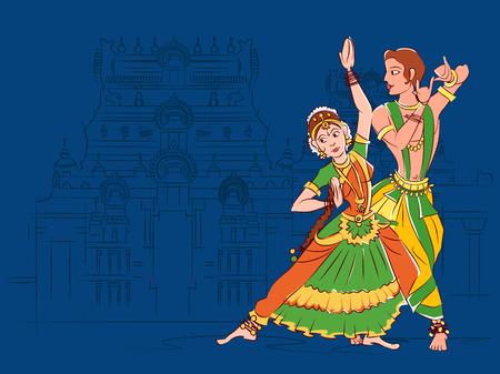 Illustration for Couple performing Bharatanatyam classical dance of Tamil Nadu, India - Royalty Free Image