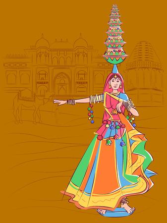 Illustration for Woman performing Matki folk dance of Madhya Pradesh, India - Royalty Free Image