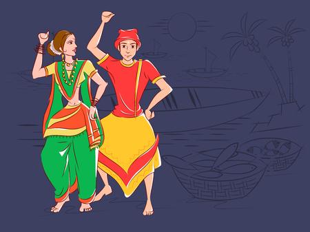 Illustration for Couple performing Koli folk dance of Maharashtra, India - Royalty Free Image