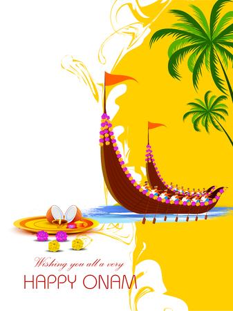Ilustración de Happy Onam background for Festival of South India Kerala - Imagen libre de derechos