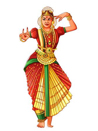 Illustration for Woman performing Bharatanatyam classical dance of Tamil Nadu, India - Royalty Free Image