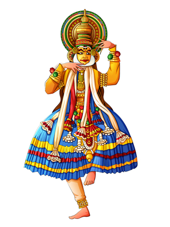 Illustration for Man performing Kathakali classical dance of Kerala, India - Royalty Free Image