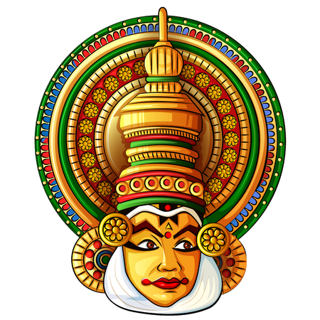 Illustration for Face of Kathakali classical dance of Kerala, India - Royalty Free Image