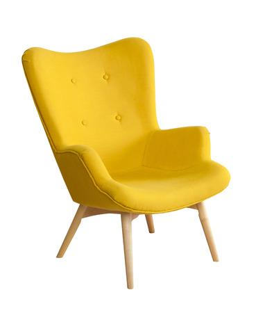 Foto de Yellow modern chair isloated on white background - Imagen libre de derechos