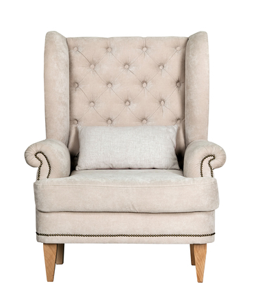 Photo for Comfortable classic grey chair isolated on white background - Royalty Free Image