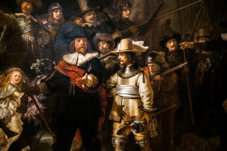 Photo pour Piece segment of The Night Watch, Rembrandt's largest and most famous painting in Rijksmuseum's Gallery - image libre de droit