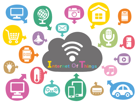 Illustration pour Internet of things colorful icon - image libre de droit