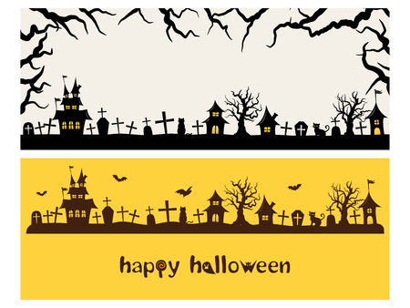 Illustration for Happy halloween vector banner set - Royalty Free Image