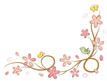 Ilustración de Cherry blossoms of handwriting style.vector seamless pattern background. - Imagen libre de derechos