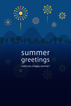 Illustration for Summer greeting card of fireworks. - Royalty Free Image