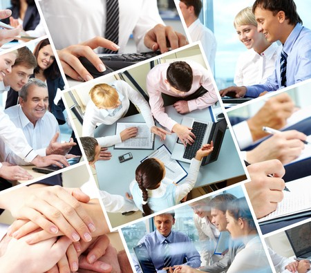 Collage of different image with business people during work